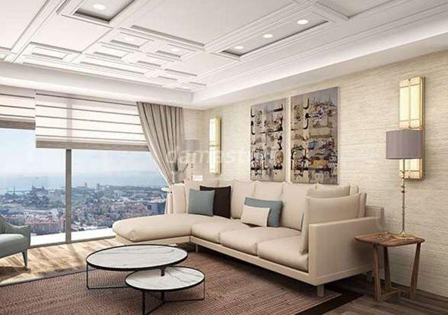 مجمع شقق جاهز للسكن بنظام الشقق الذكية وإطلالة بحرية في اسطنبول الأوروبية منطقة بيليك دوزو || داماس تورك العقارية 01